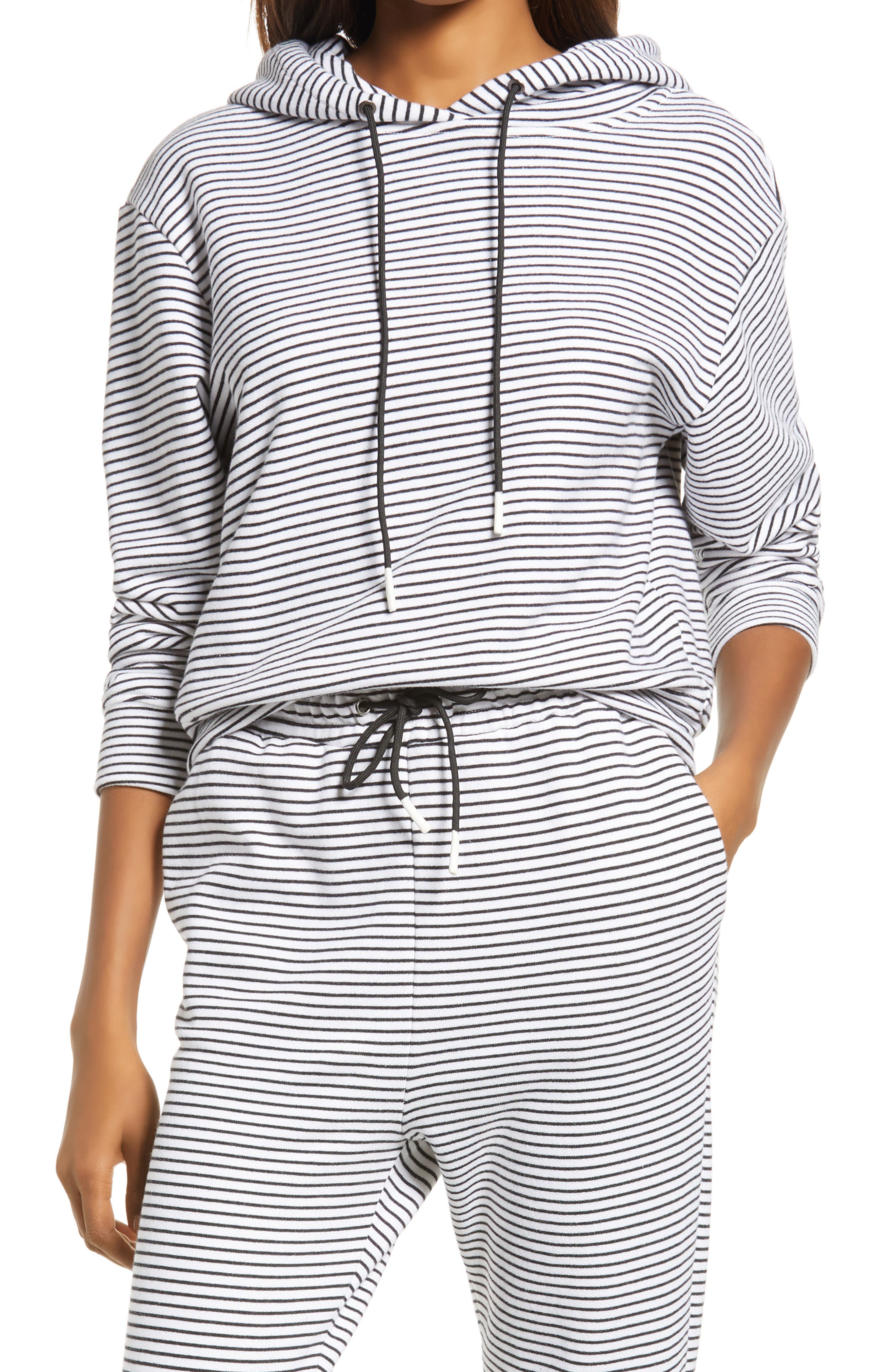 Stripe Crop Cotton French Terry Hoodie