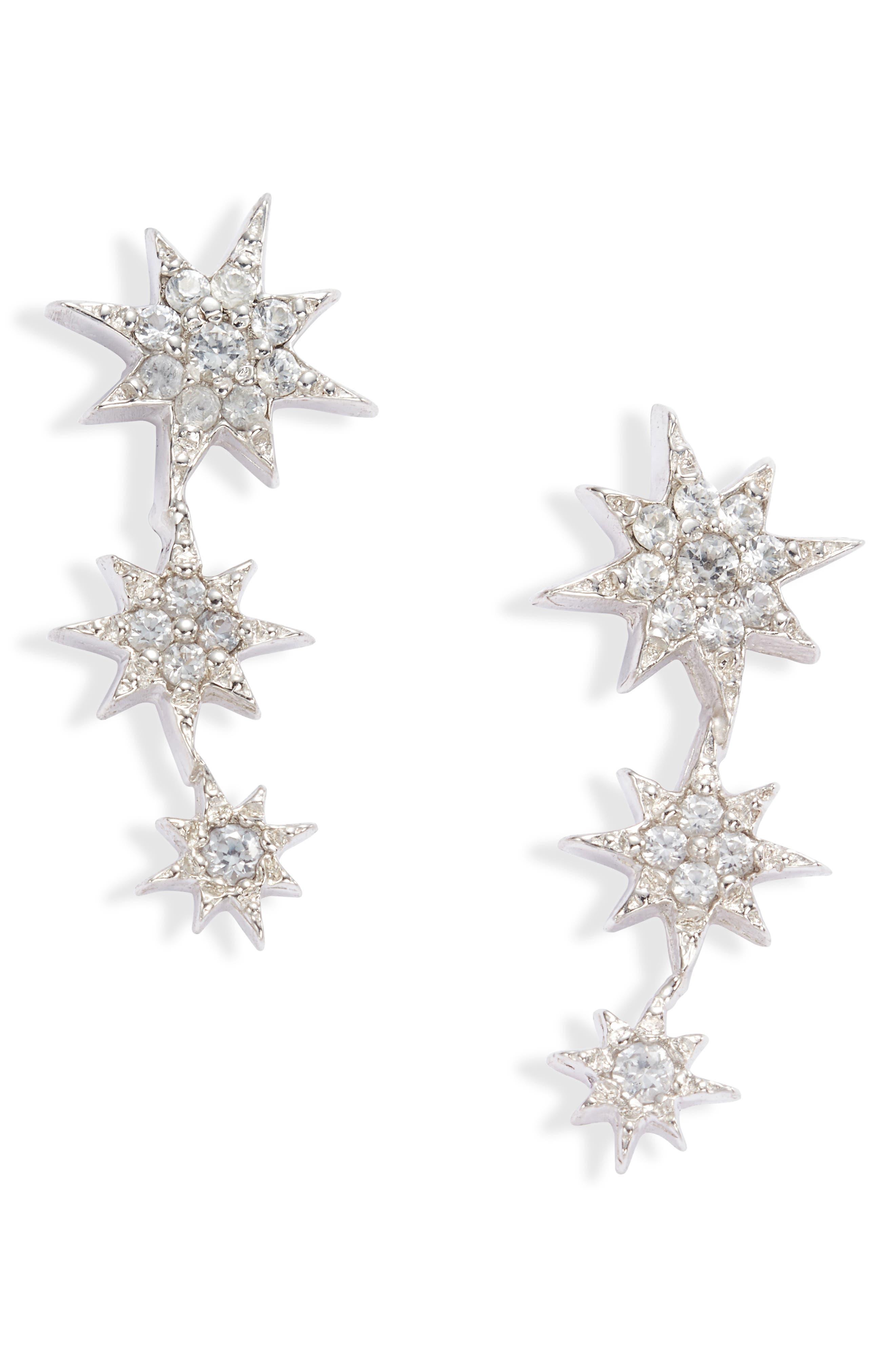 North Star Sapphire Linear Stud Earrings