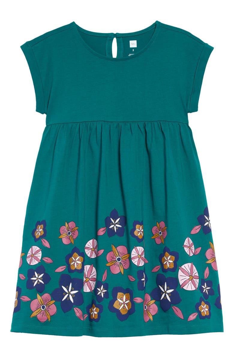 TEA COLLECTION Floral Print Empire Dress, Main, color, SCUBA