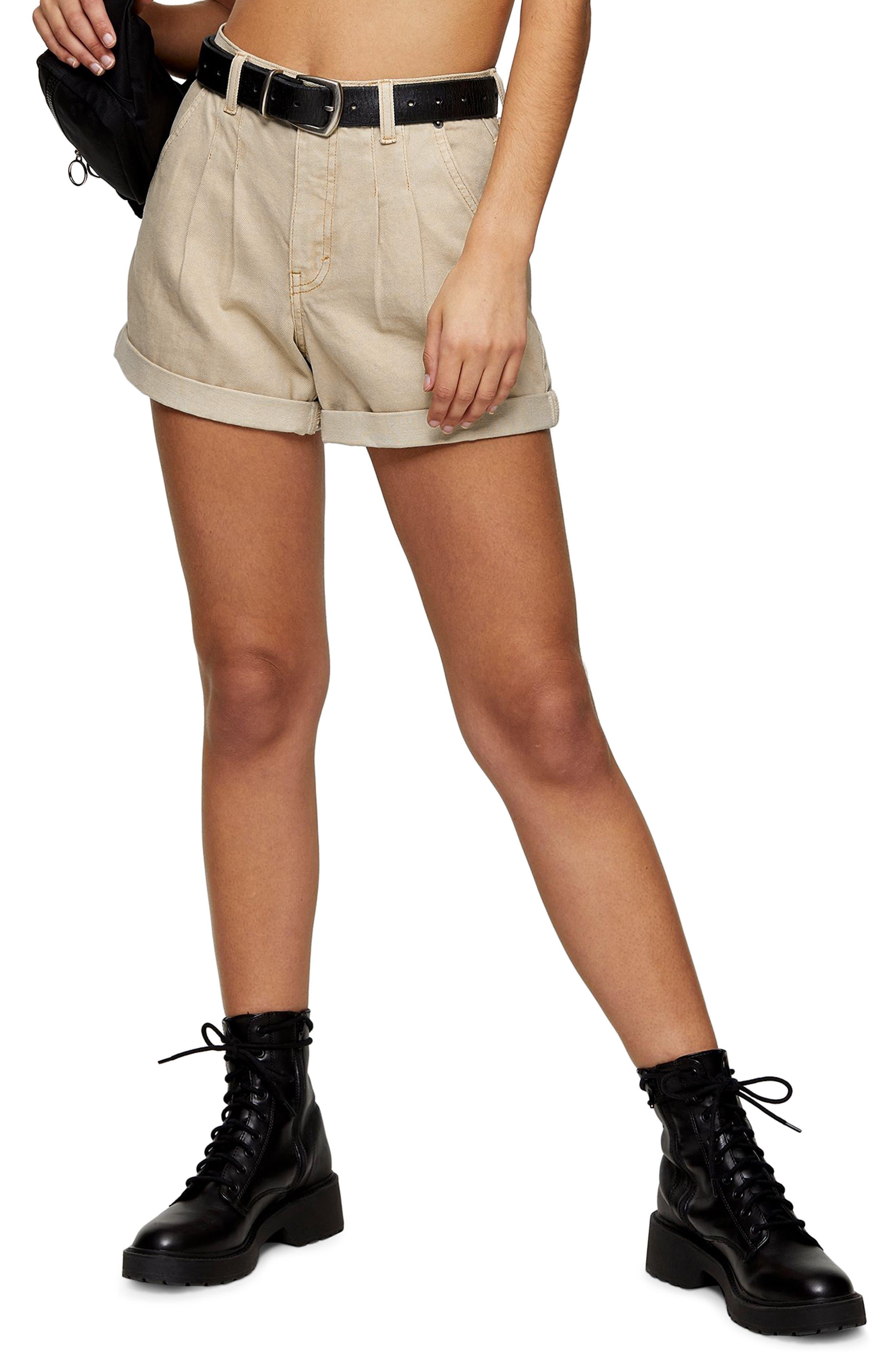 Women's Topshop Balloon Fit Mom Denim Shorts,  10 US (fits like 10-12) - Beige