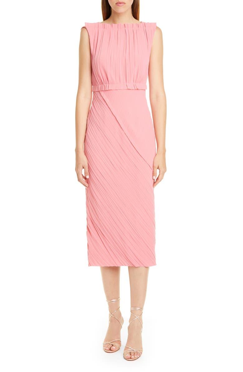 JASON WU COLLECTION Crinkled Satin Back Crepe Dress, Main, color, ROSE PINK