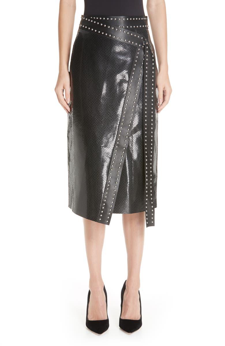 d5e10421ae Alexander McQueen Snake Embossed Leather Wrap Skirt | Nordstrom