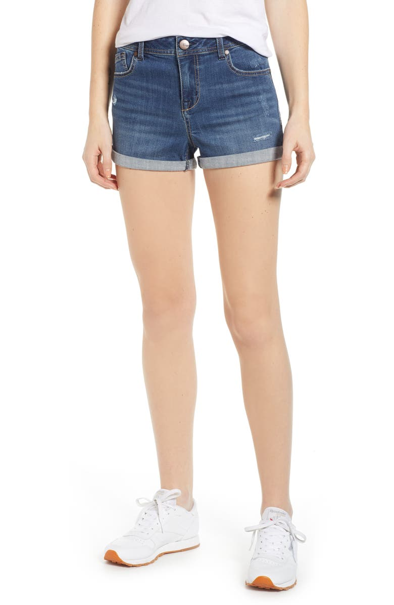 1822 DENIM Roll Cuff Denim Shorts, Main, color, SUBLIME MEDIUM WASH