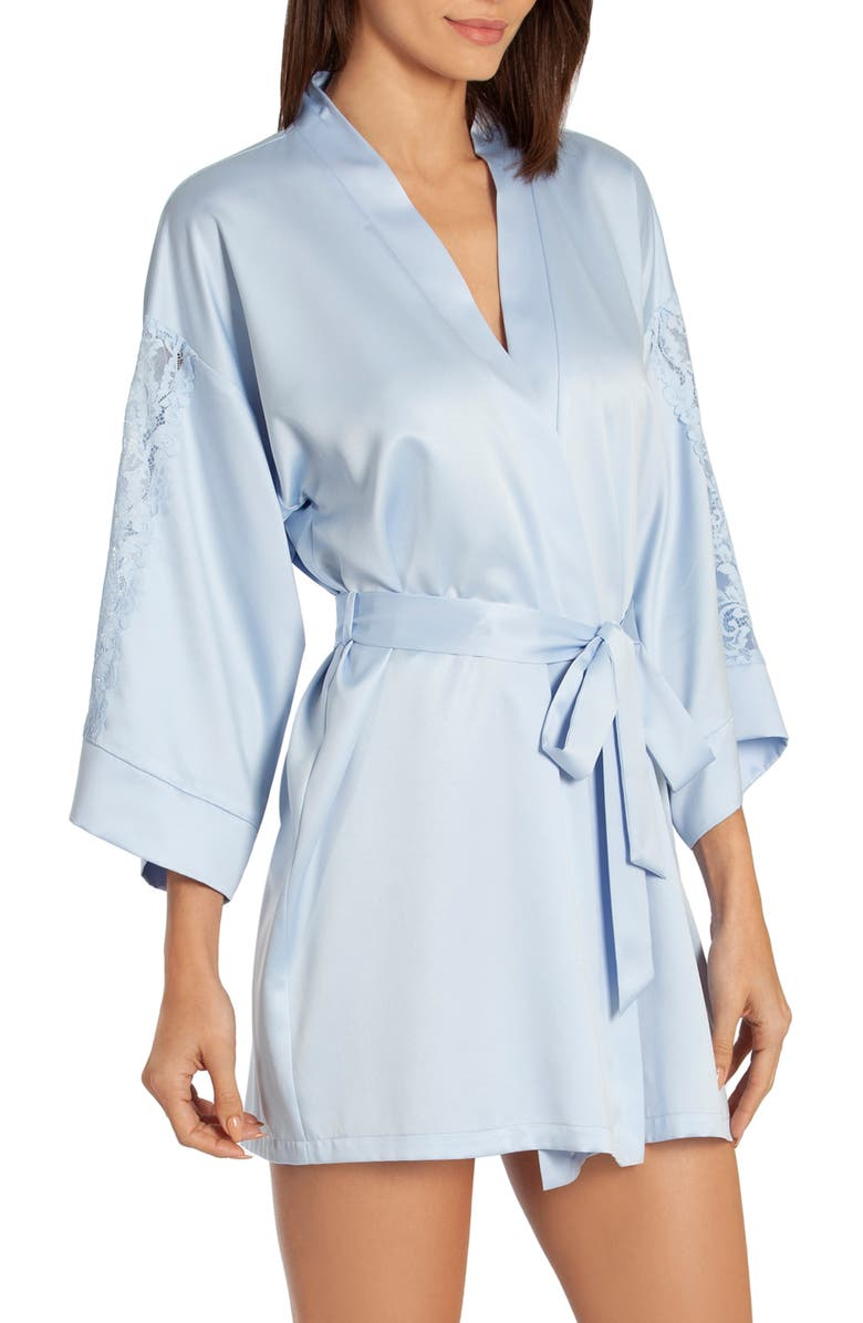 IN BLOOM BY JONQUIL Satin Wrap, Main, color, BLUE MIST