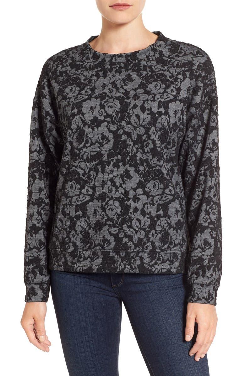 BOBEAU Lace Sweatshirt, Main, color, 001