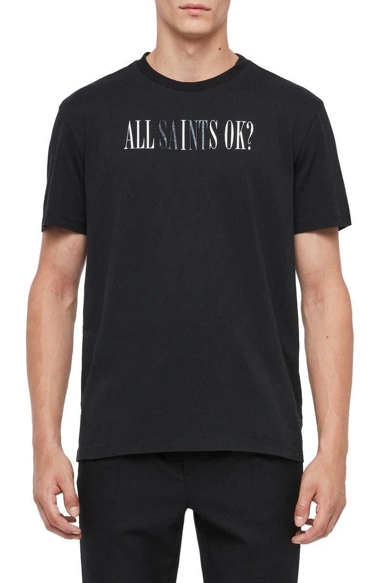 ALLSAINTS OK Graphic Crewneck T-Shirt, Main, color, JET BLACK