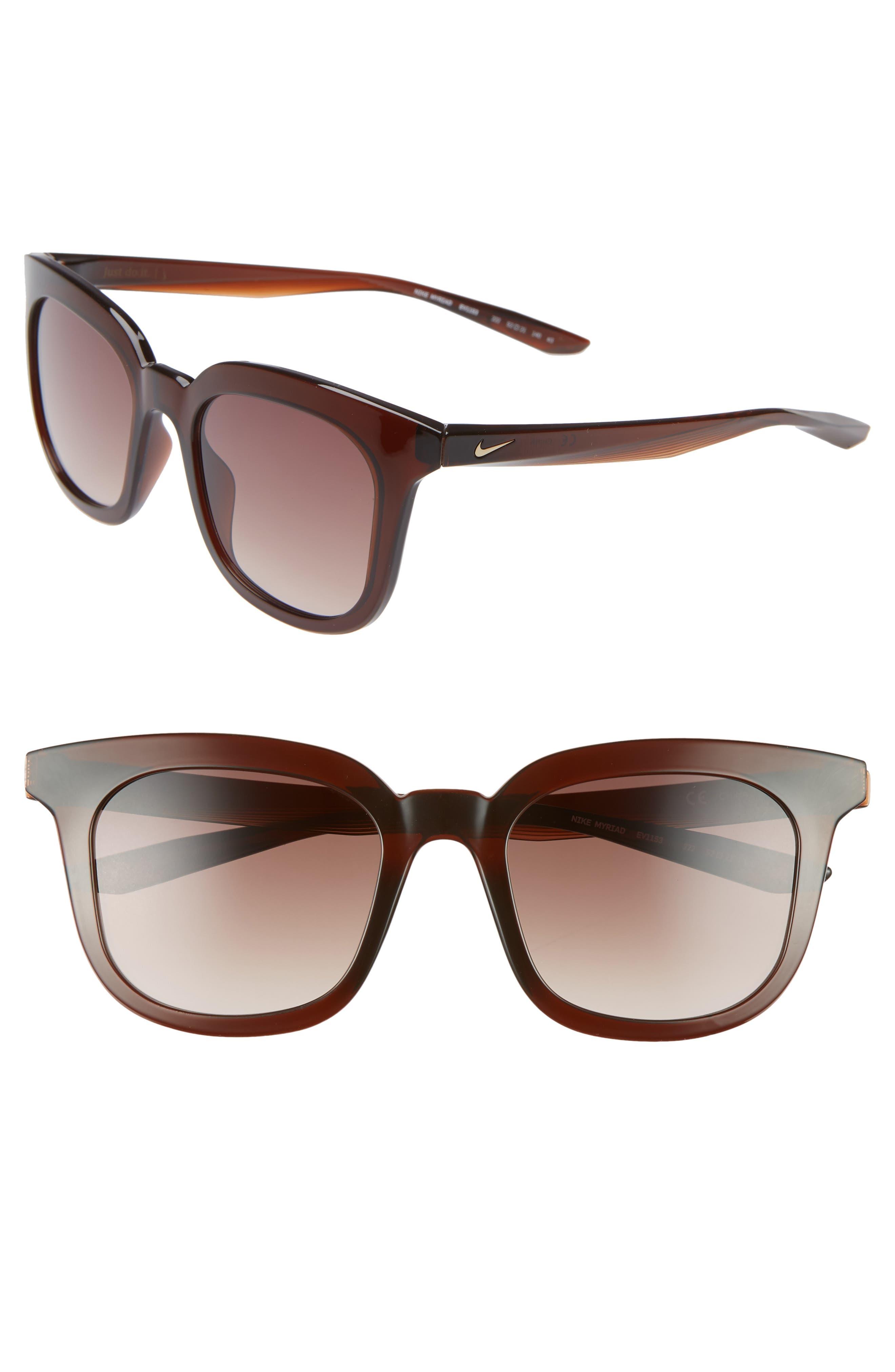 Nike Myriad 52Mm Square Sunglasses - Burgundy/ Gradient Brown