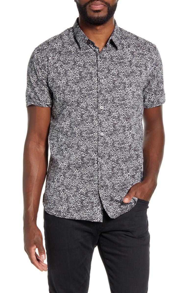 JOHN VARVATOS STAR USA Jasper Regular Fit Short Sleeve Button-Up Shirt, Main, color, BLACK/ WHITE