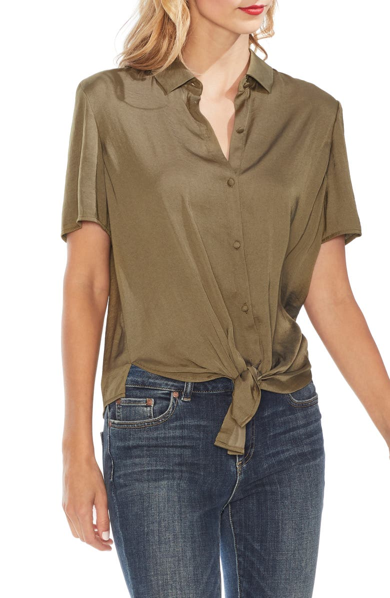 Tie Front Rumple Satin Blouse by Vince Camuto