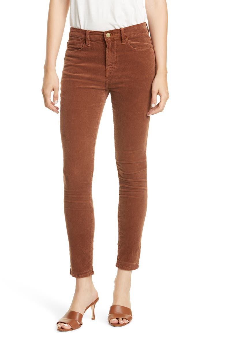 FRAME Le High Waist Corduroy Skinny Pants, Main, color, BUTTERSCOTCH