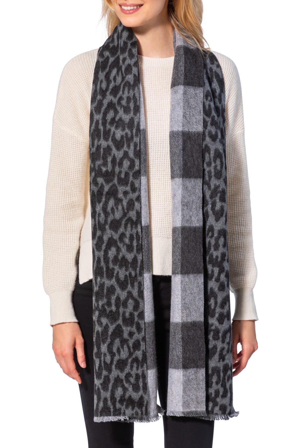Image of AMICALE Cashmere Leopard/Buffalo Plaid Print Double Face Wrap