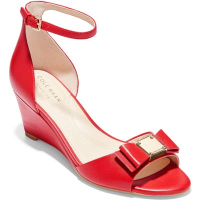 Cole Haan Tali Bow Wedge Sandal, Red