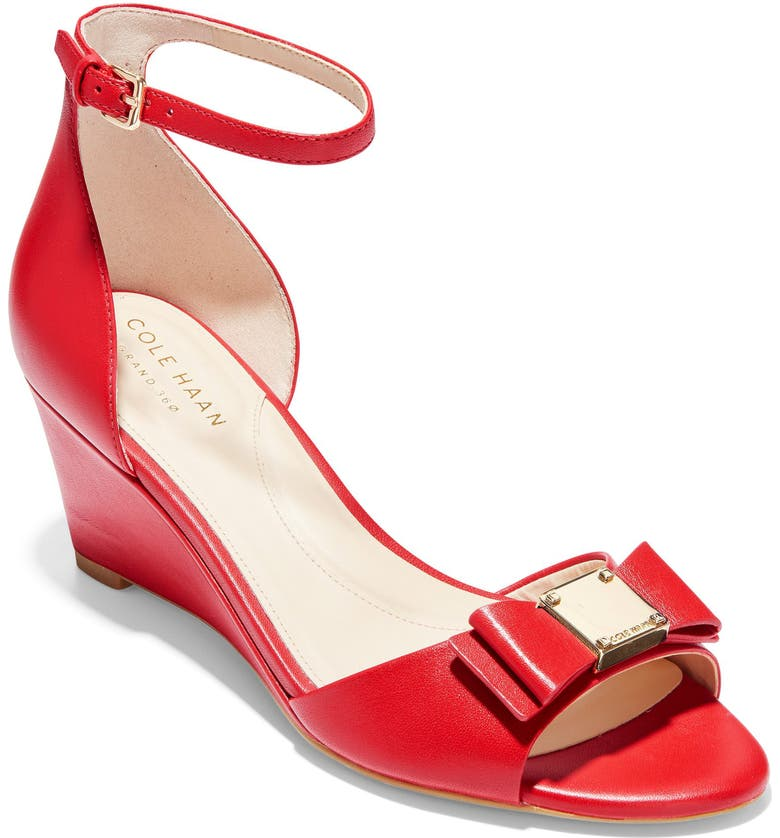 COLE HAAN Tali Bow Wedge Sandal, Main, color, CHERRY LEATHER