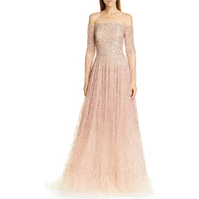 Pamella Roland Sequin & Crystal Ombre Off The Shoulder Gown, White