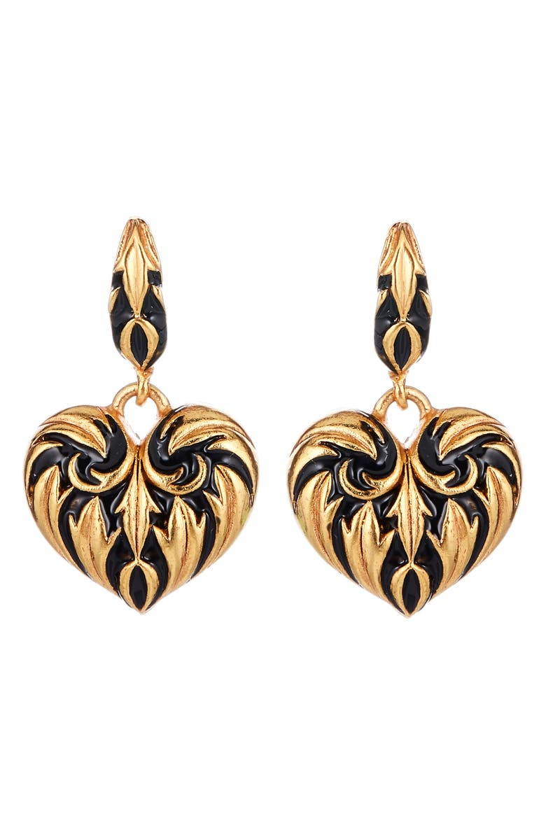 OSCAR DE LA RENTA Runway Painted Heart Drop Earrings, Main, color, BLACK