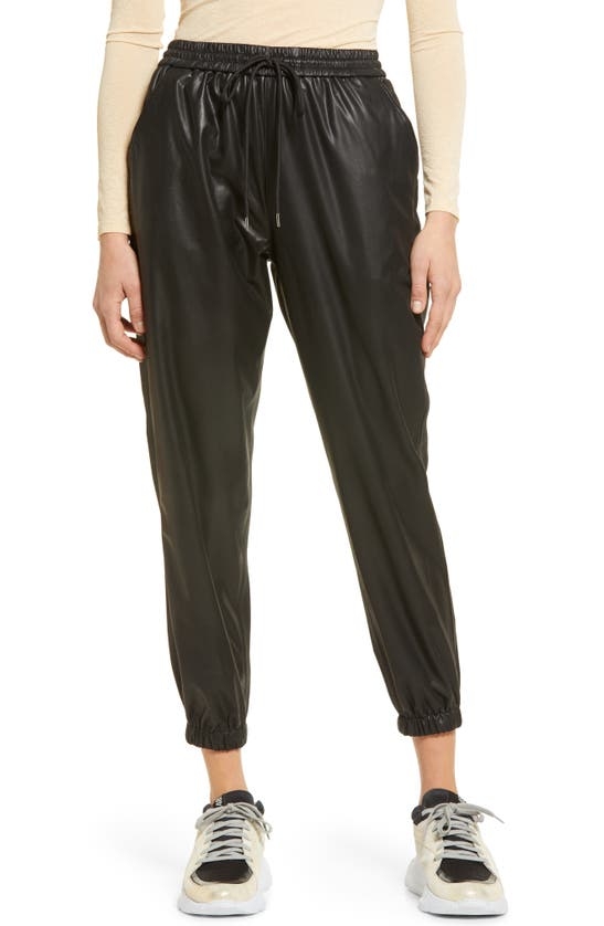 Blanknyc Vegan Leather Pleated Carrot Leg Pant In Black Widow