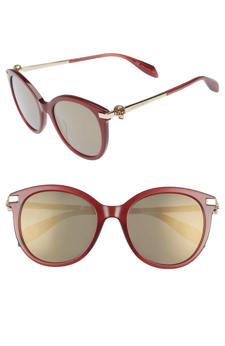 ALEXANDER MCQUEEN 53mm Rounded Cat Eye Sunglasses, Main, color, BURGUNDY
