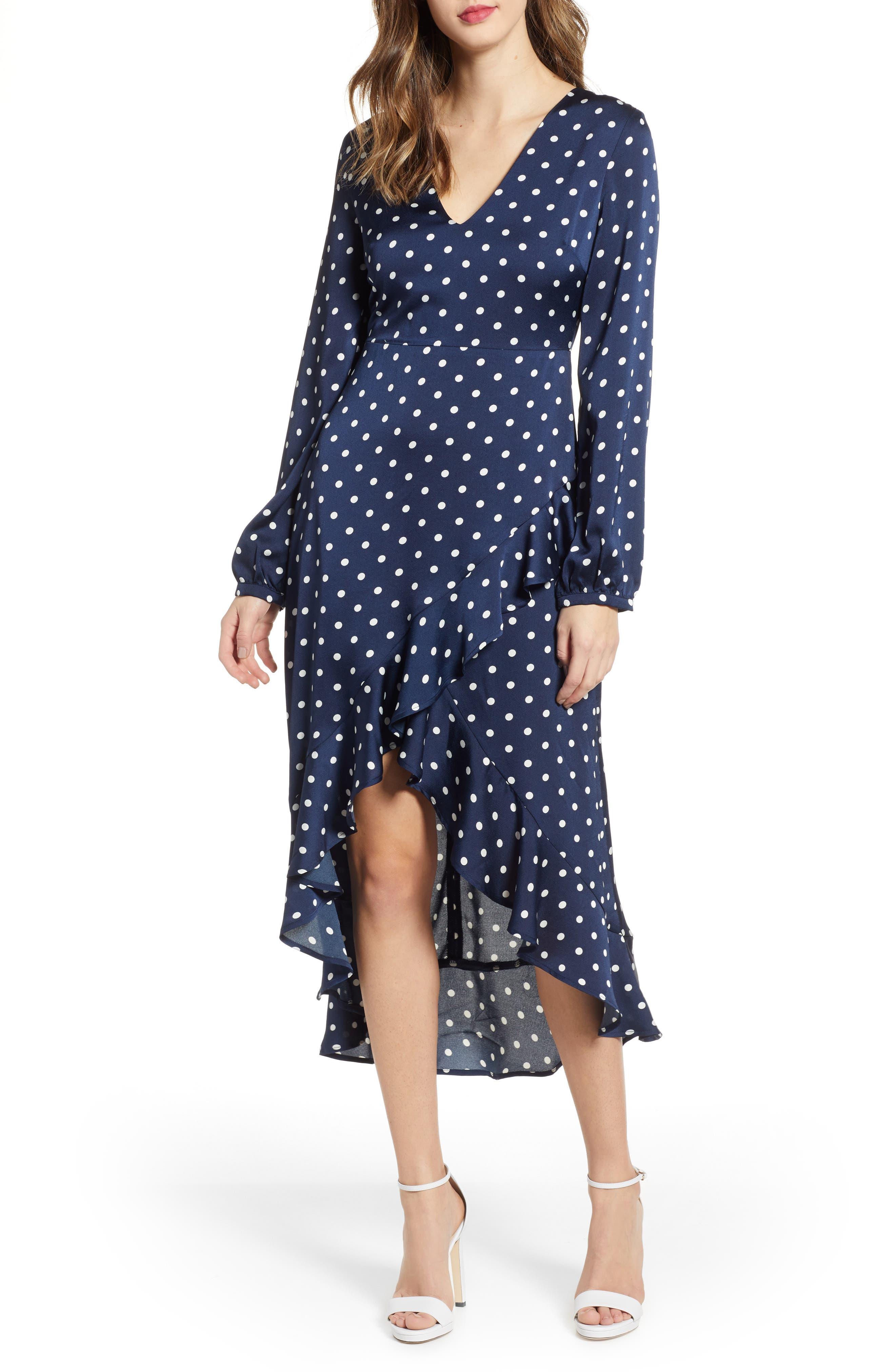 Endless Rose Polka Dot High/low Maxi Dress, Blue
