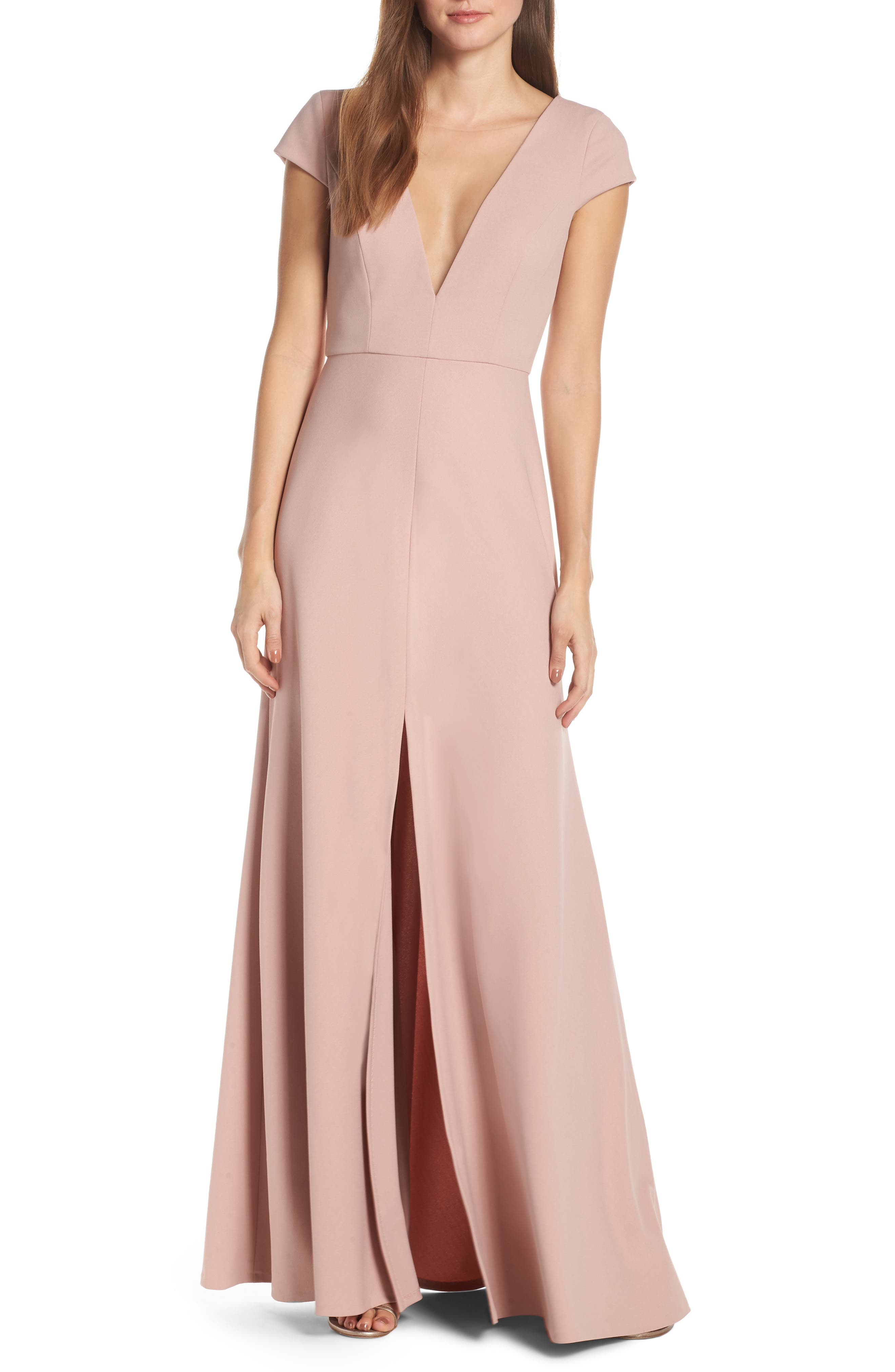 Jenny Yoo Cara Deep V-Neck Evening Dress, Red