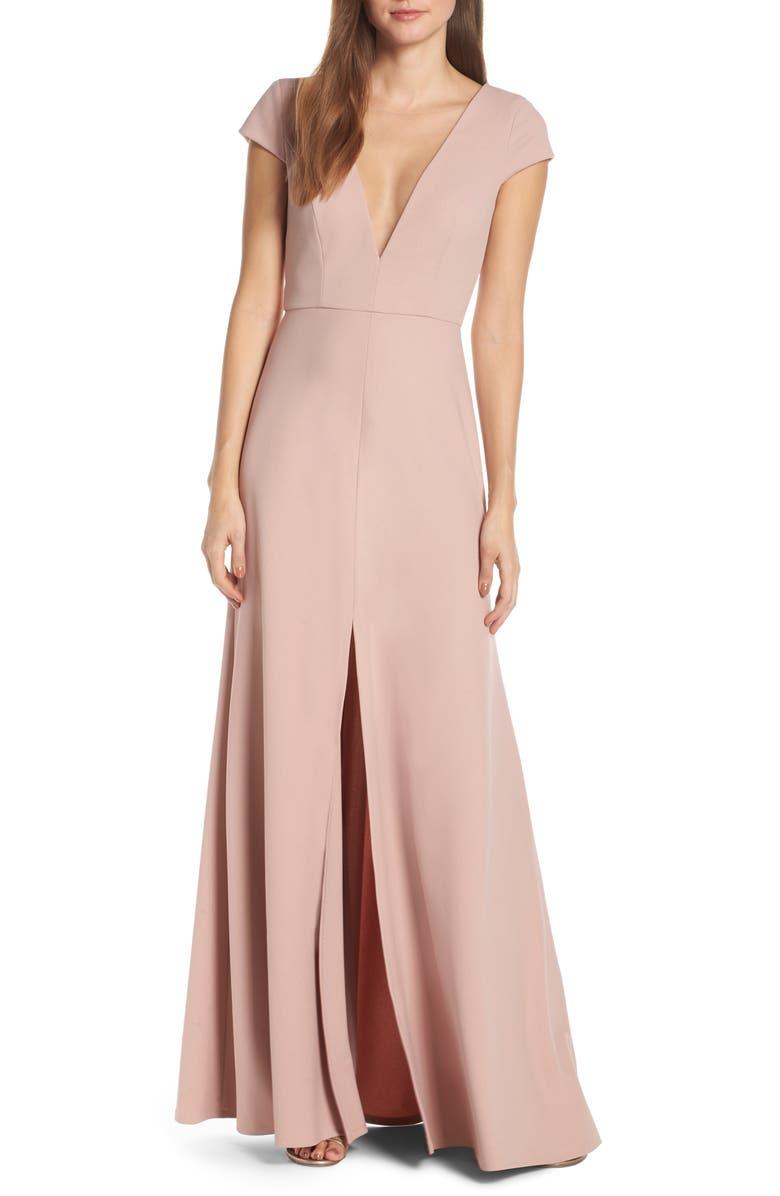 JENNY YOO Cara Deep V-Neck Evening Dress, Main, color, WHIPPED APRICOT