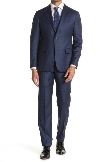 Image of Hickey Freeman Navy Sharkskin Modern Fit 2B Plaid 2-Piece Suit Set