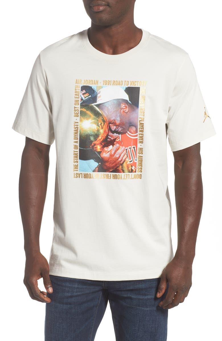 JORDAN Remastered Photo T-Shirt, Main, color, LIGHT BONE
