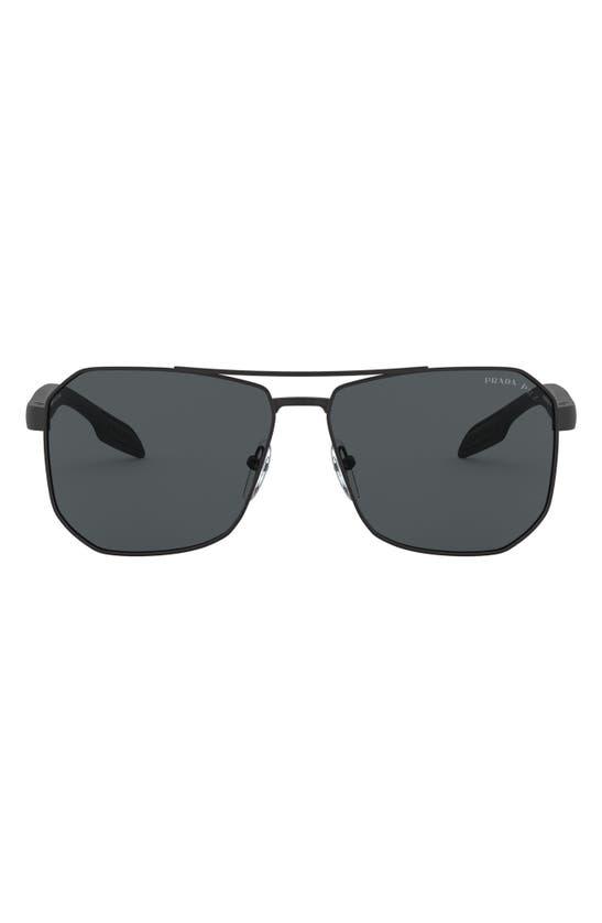 Prada 62mm Oversize Rectangular Sunglasses In Rubber Black