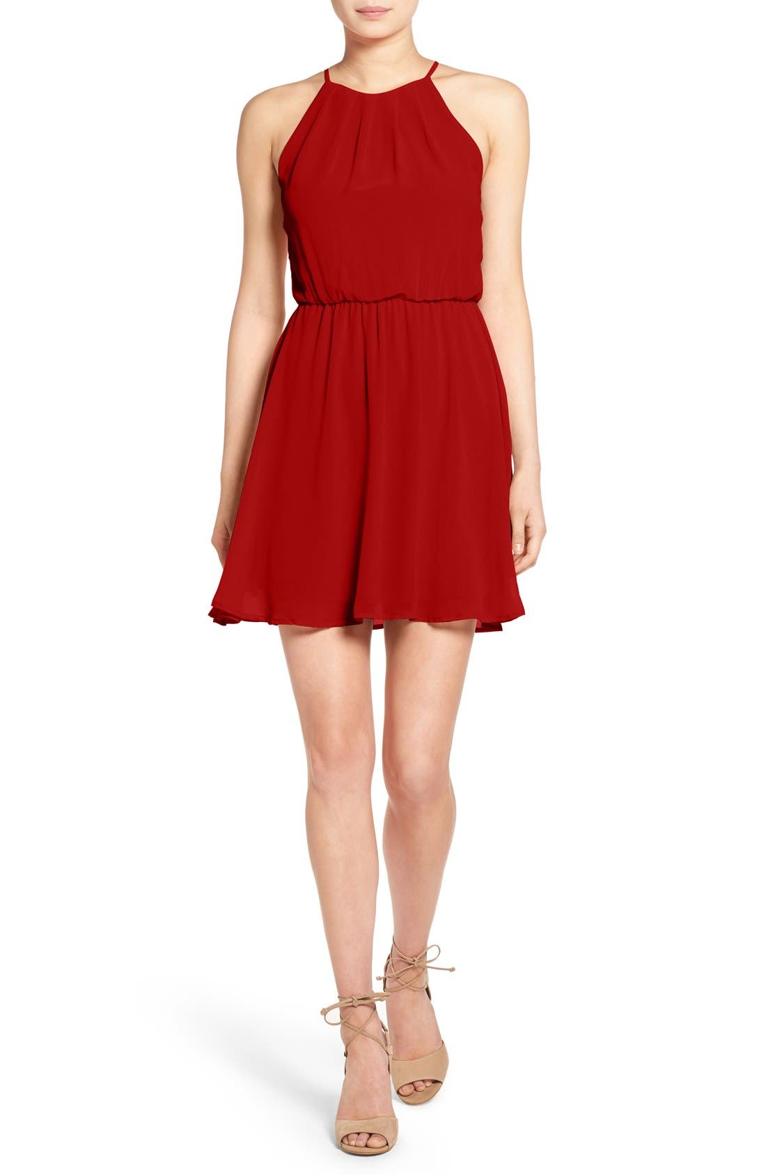 ,                             Blouson Chiffon Skater Dress,                             Main thumbnail 186, color,                             607