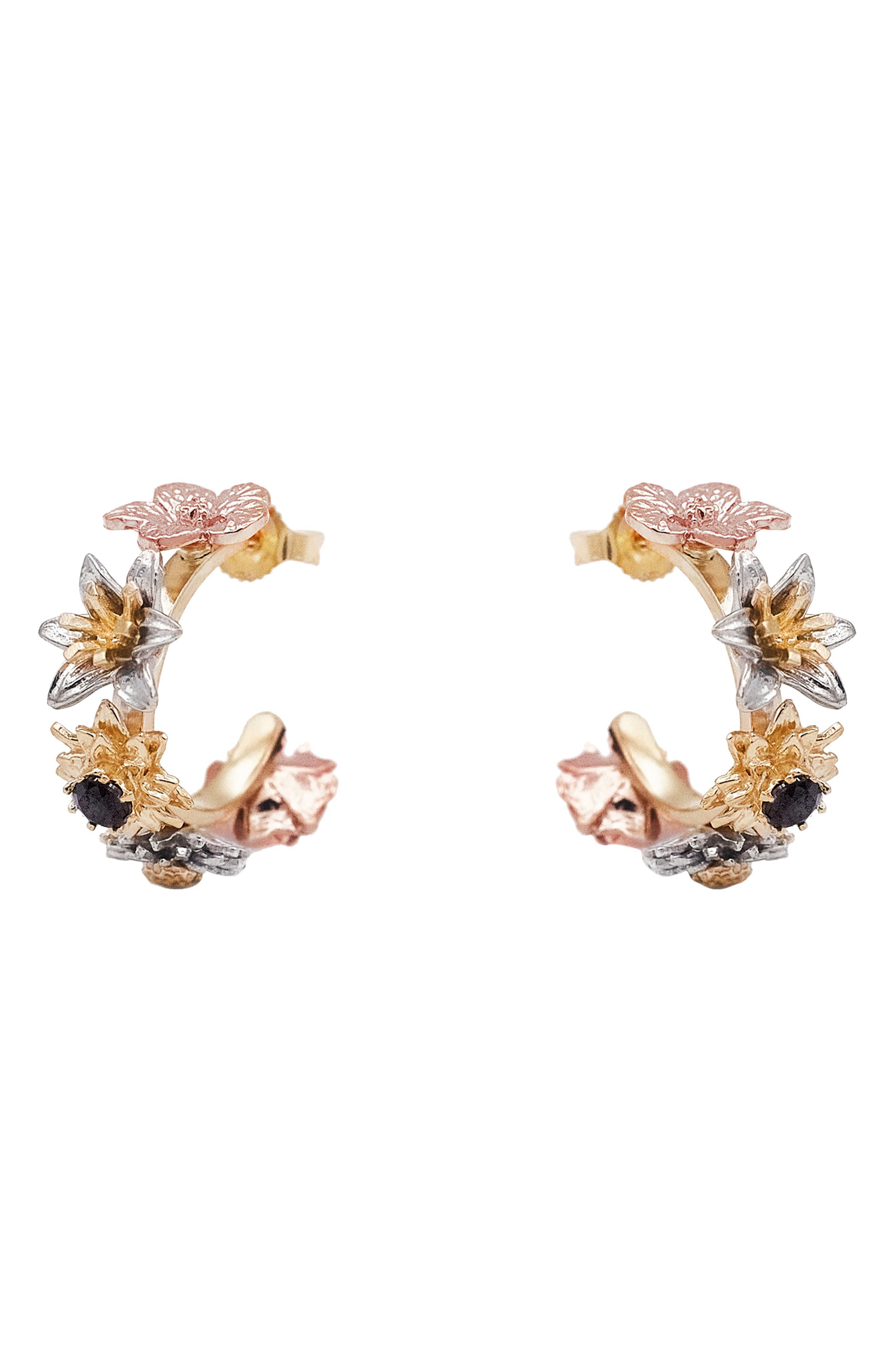 Flora Bouquet 14K Gold Huggie Hoop Earrings