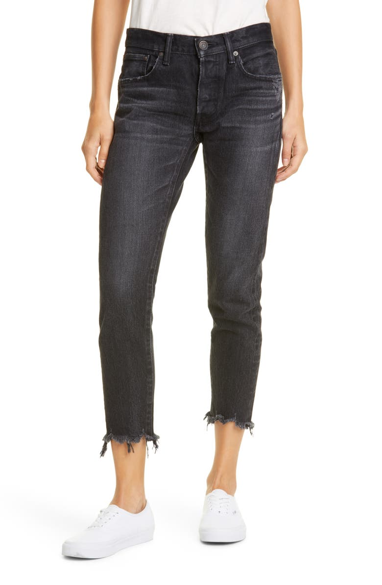 MOUSSY VINTAGE Staley Tapered Ankle Jeans, Main, color, BLACK