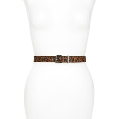 Allsaints Leather Belt, Leopard/dull Nickel