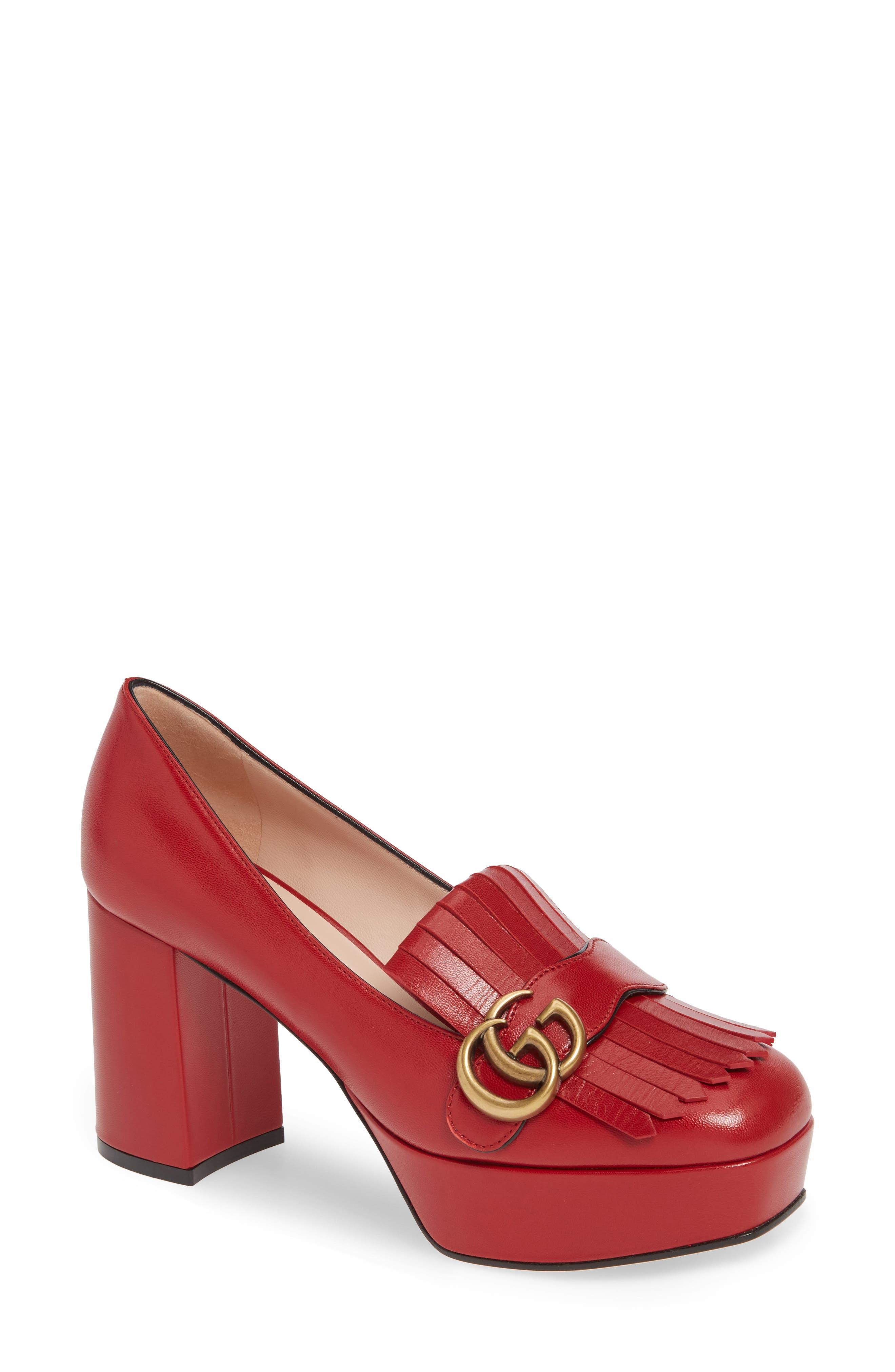 Gucci Marmont Kiltie Fringe Platform Pump, Red
