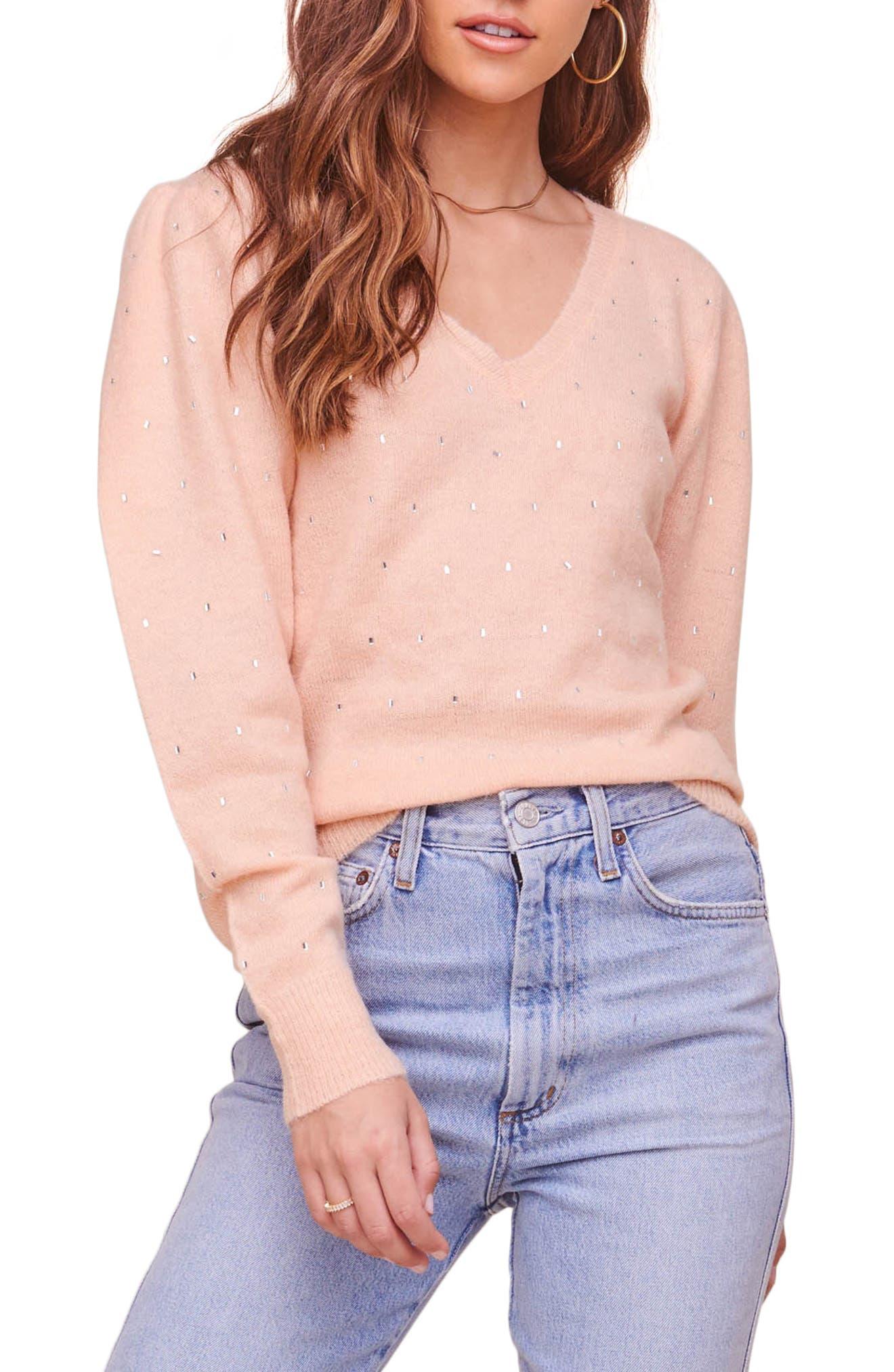 Abigail Puff Sleeve Embellished Sweater