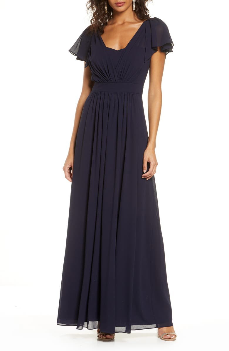 VINCE CAMUTO Pleat Chiffon Gown, Main, color, 410
