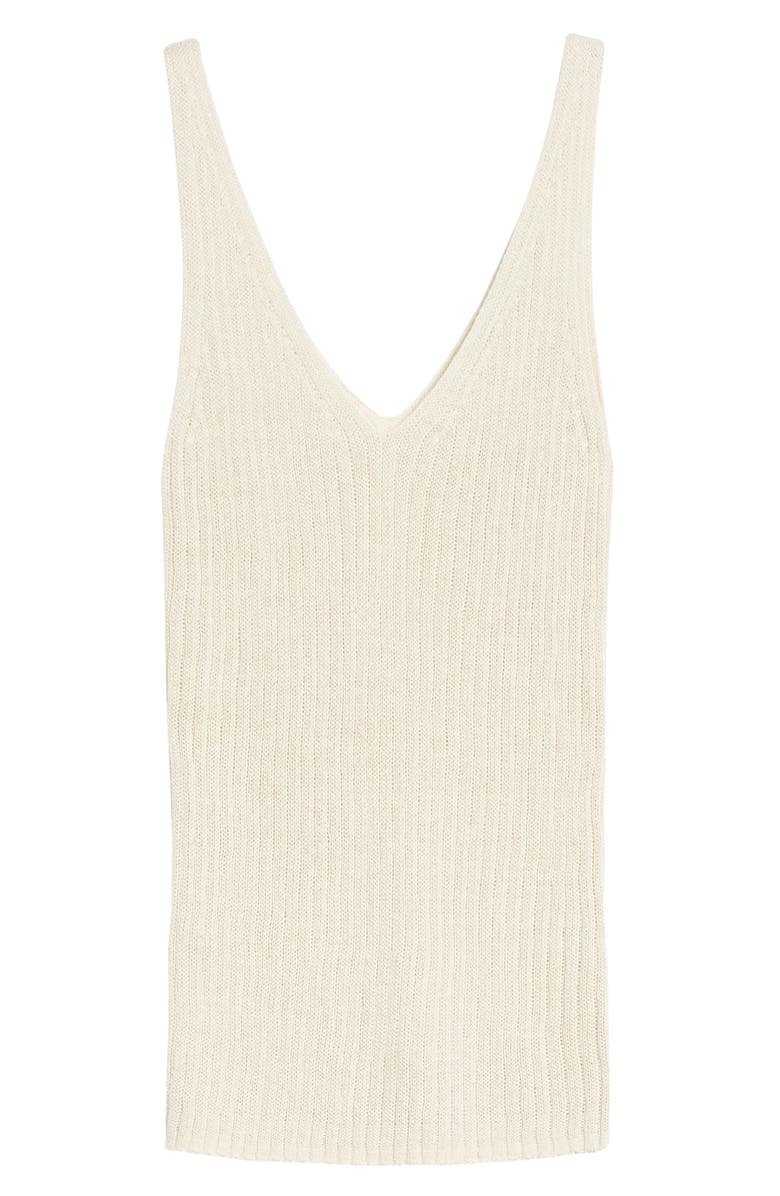 TREASURE & BOND V-Neck Ribbed Sweater Tank, Main, color, BEIGE RAINY DAY