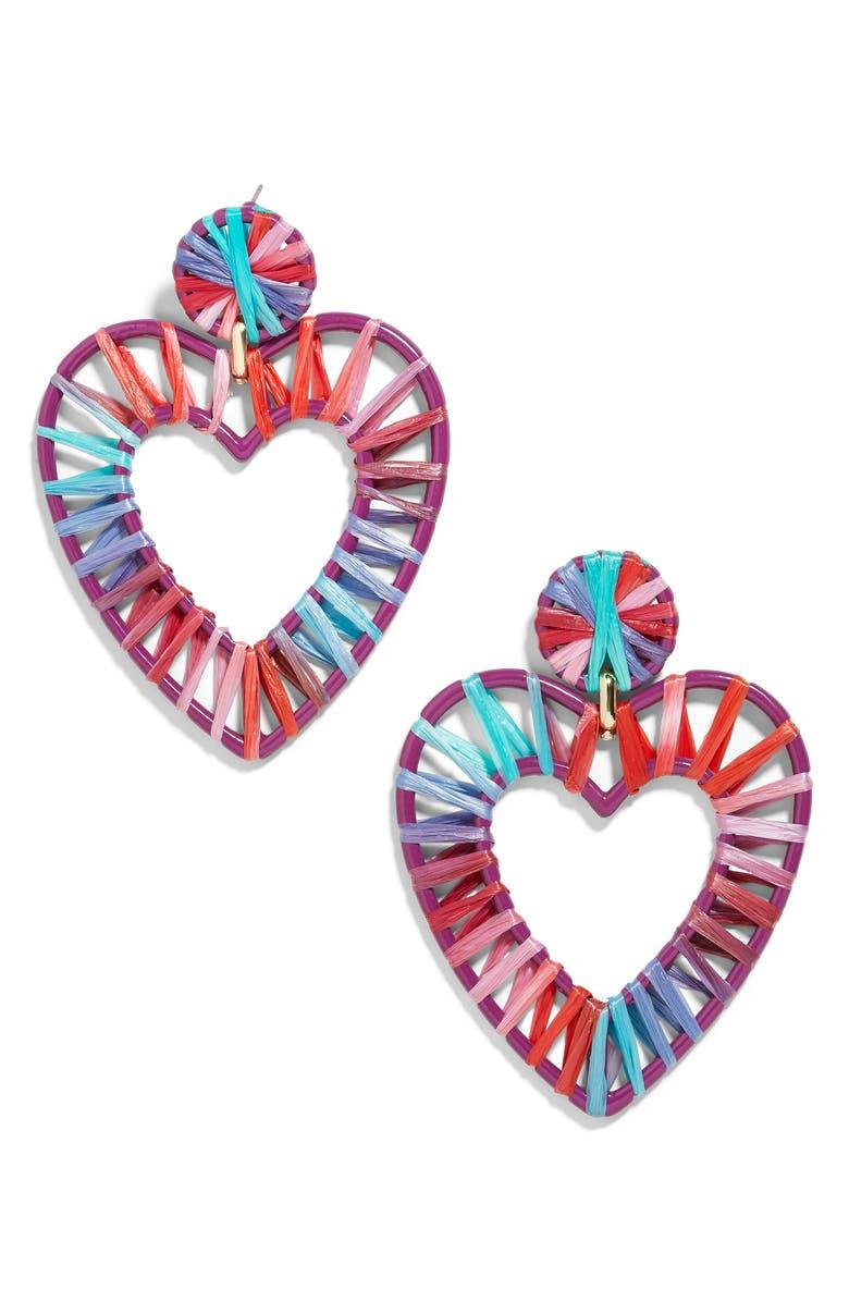 BAUBLEBAR Regina Raffia Heart Earrings, Main, color, 600