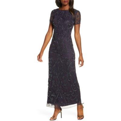 Pisarro Nights Embellished Mesh Evening Dress