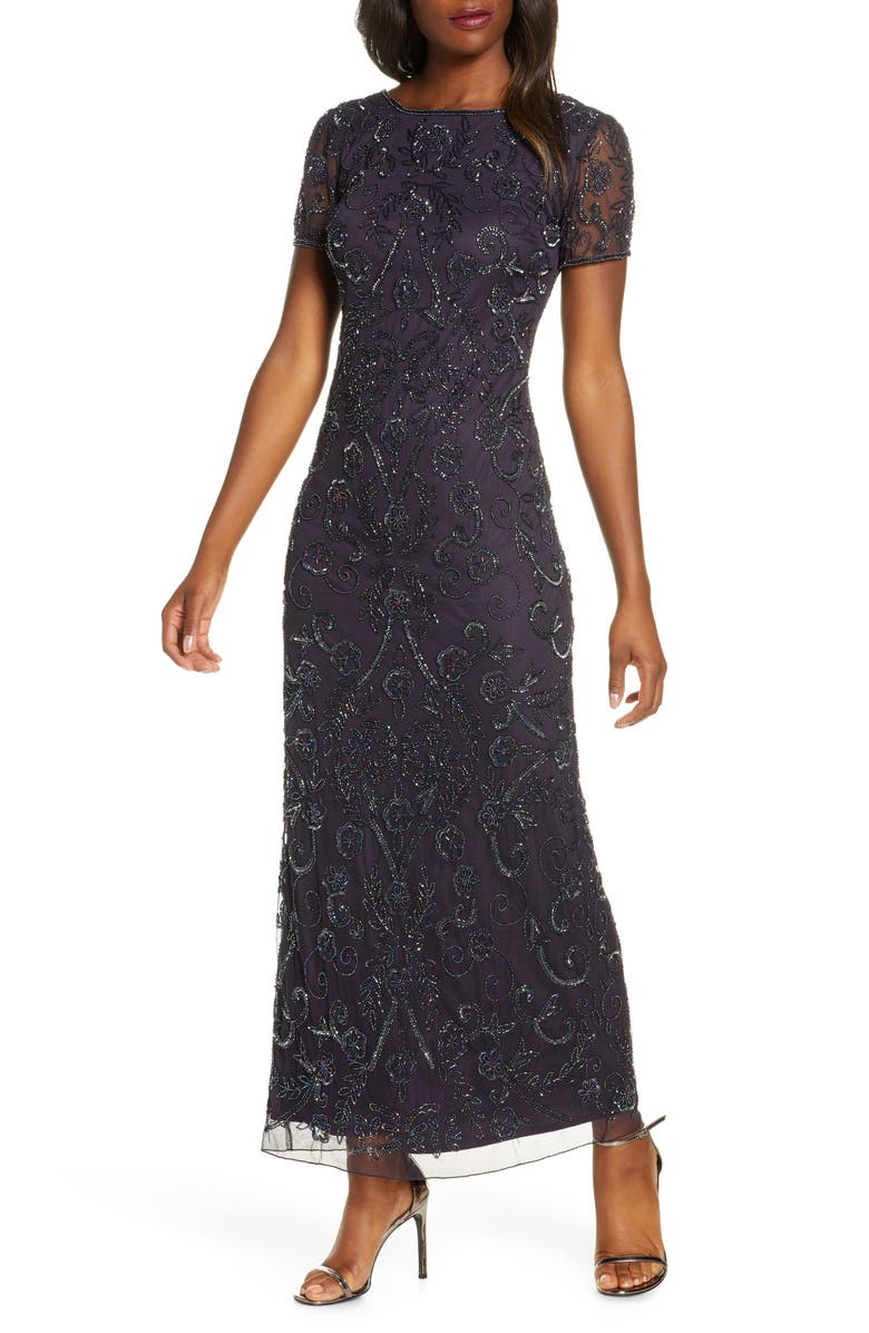 PISARRO NIGHTS Embellished Mesh Evening Dress, Main, color, EGGPLANT