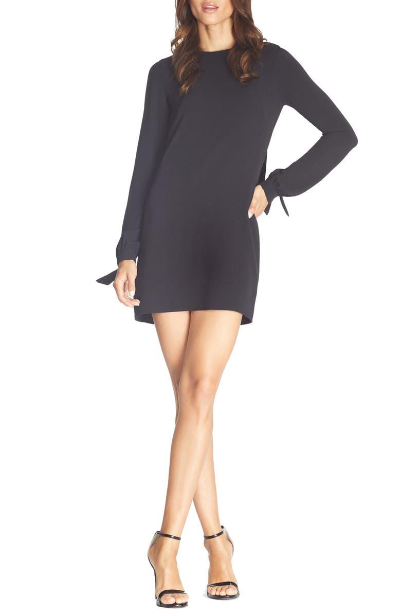 DRESS THE POPULATION Dahlia Long Sleeve Drape Back Minidress, Main, color, BLACK
