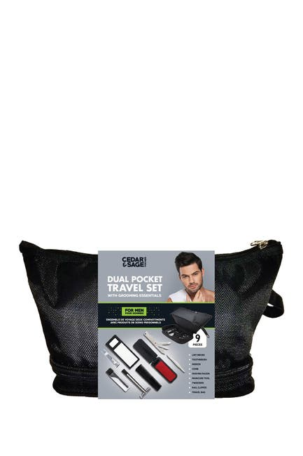 Image of UPPER CANADA SOAPS Cedar & Sage 9-Piece Travel Groom Essential Kit