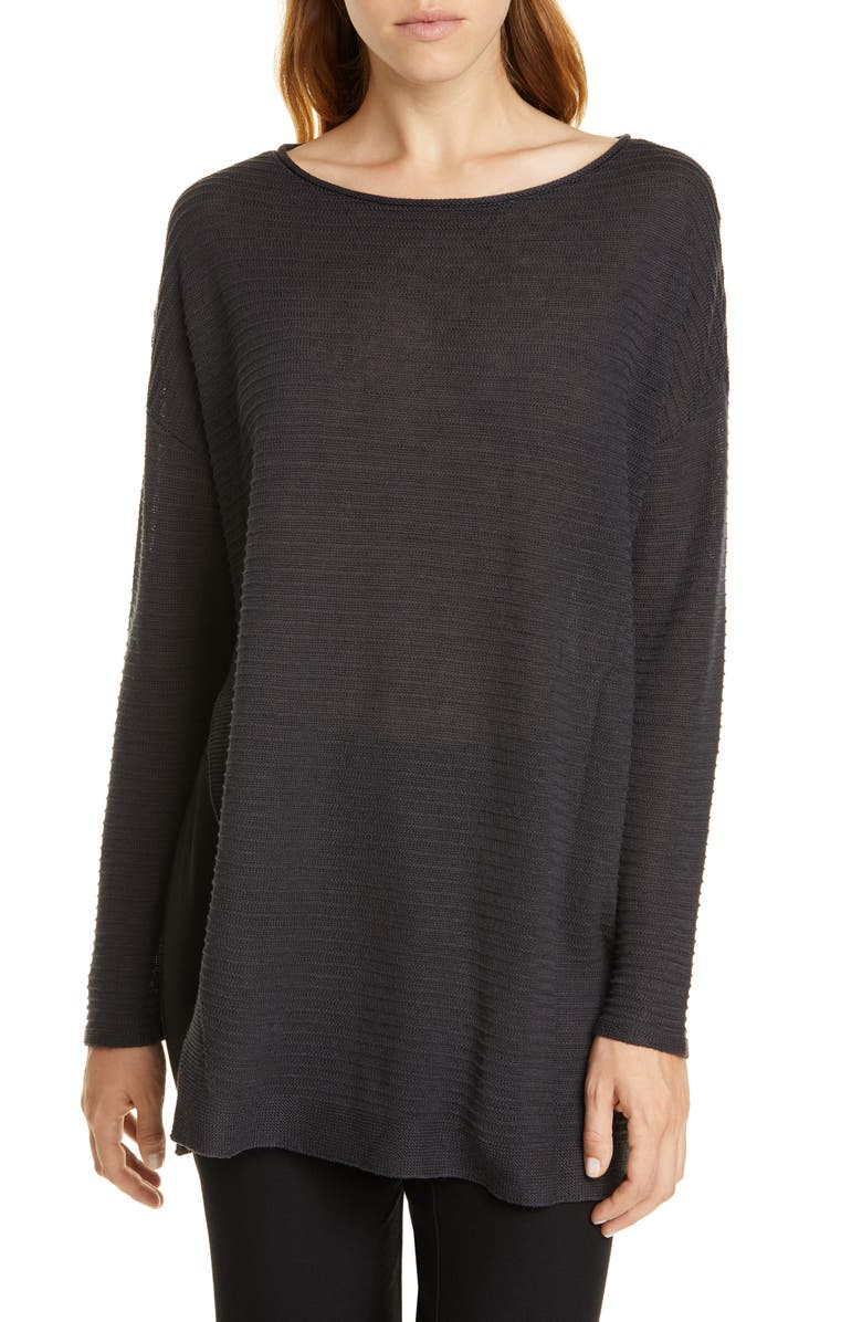 EILEEN FISHER Bateau Neck Organic Linen & Cotton Tunic Sweater, Main, color, CHARCOAL