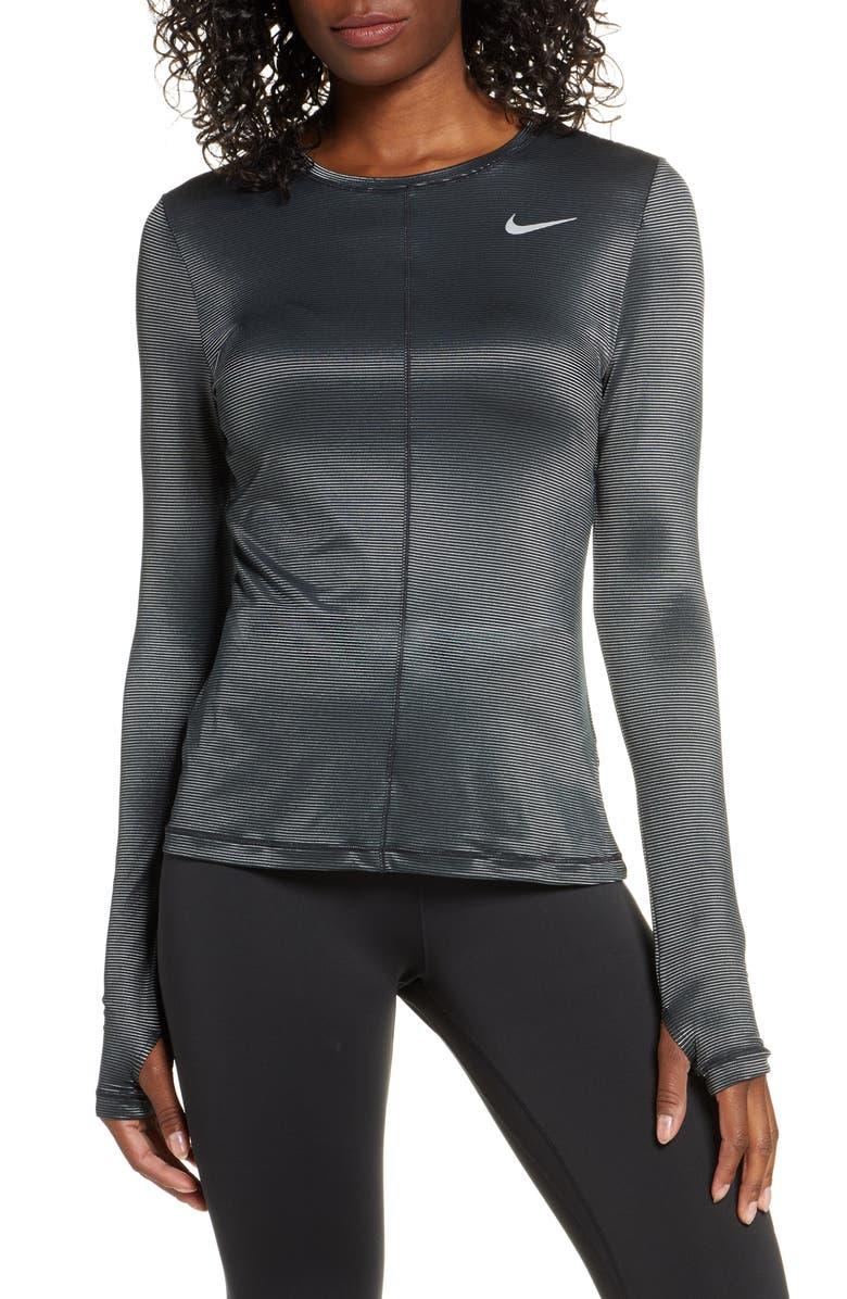 NIKE Dry Miler Shine Long Sleeve Shirt, Main, color, BLK/ MET SILV/ REFLECT SILV