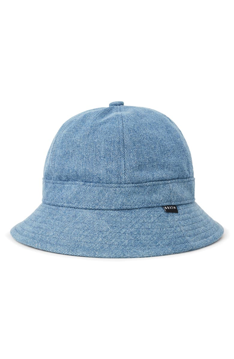 BRIXTON Banks II Denim Bucket Hat, Main, color, BLUE WASHED DENIM