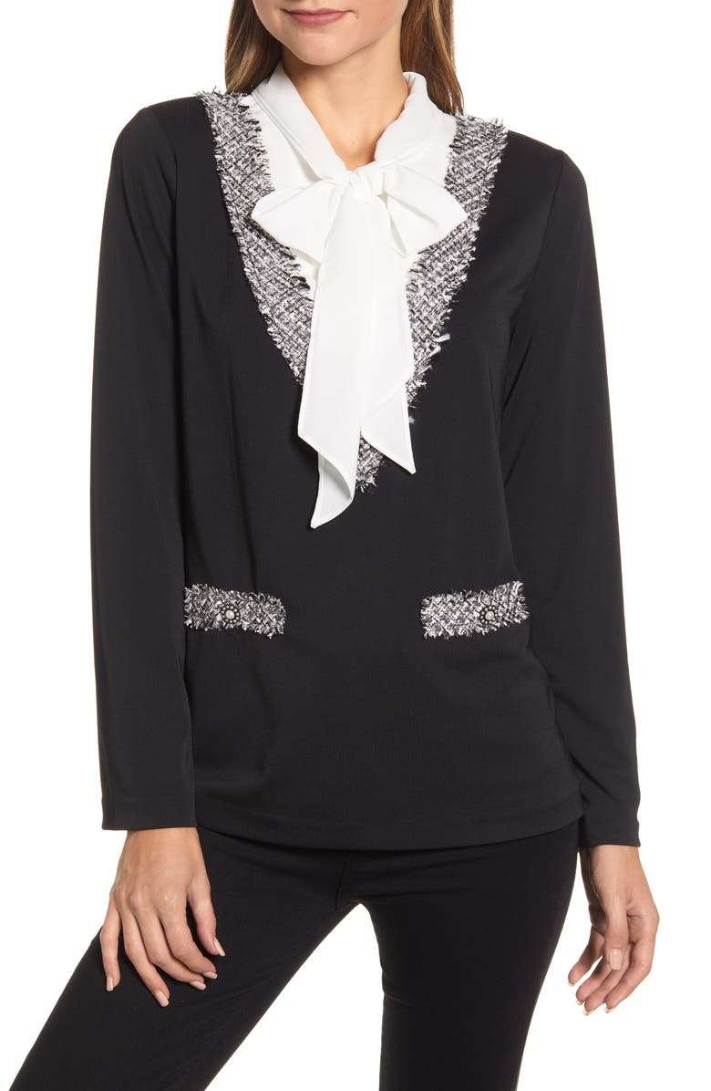 KARL LAGERFELD PARIS Mock Two-Piece Top, Main, color, BLACK