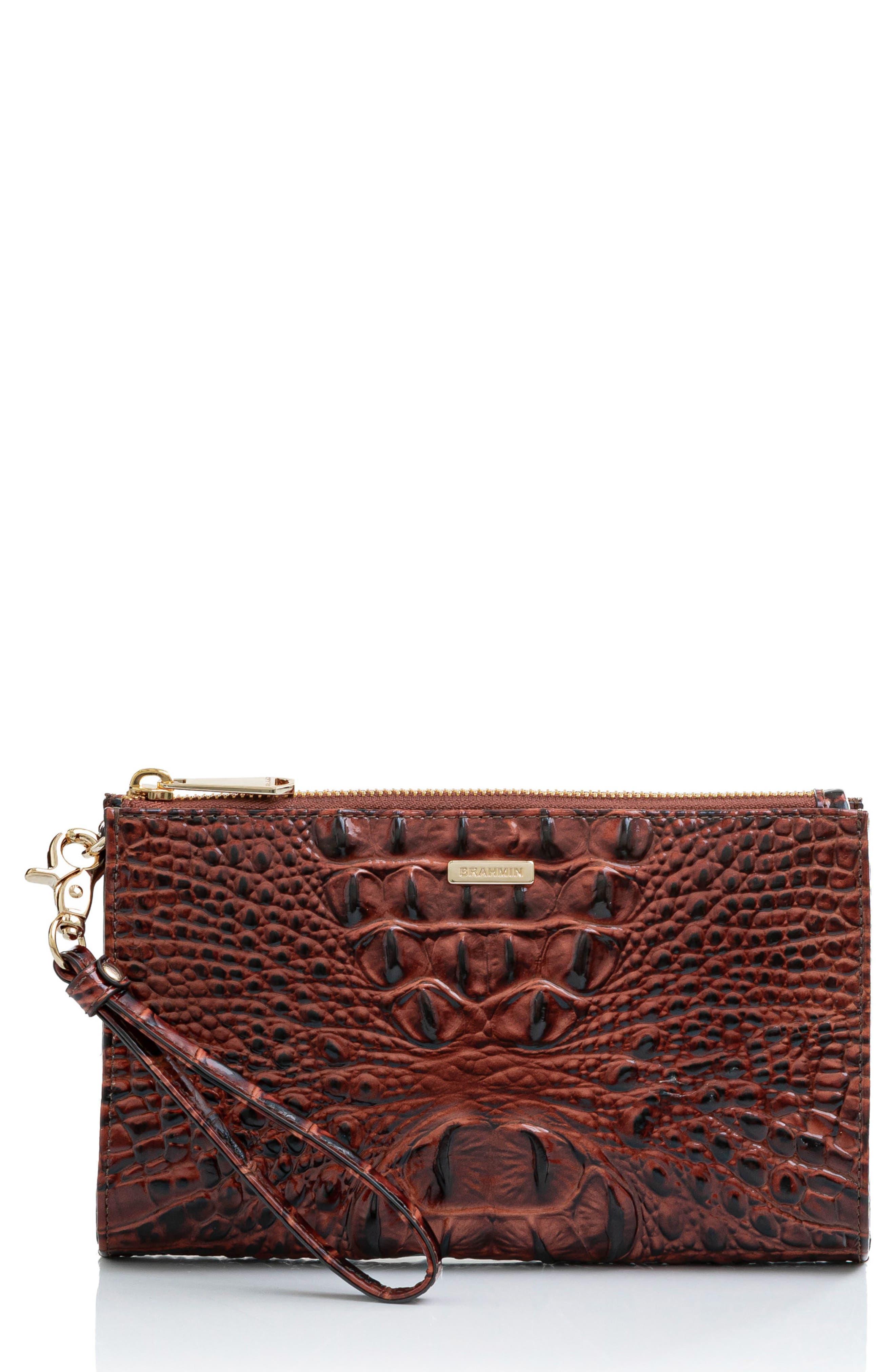 Daisy Croc Embossed Leather Wristlet