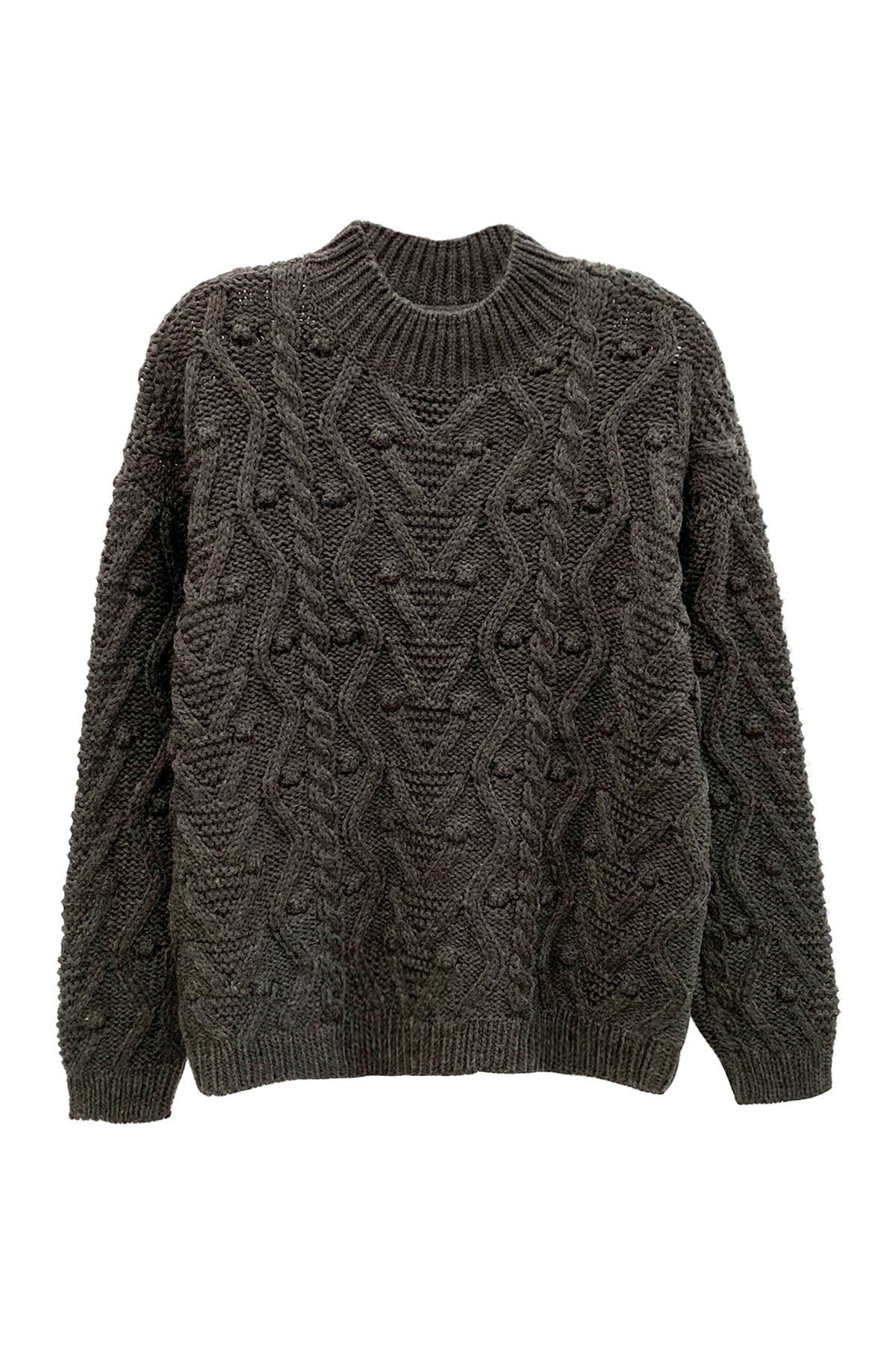 Image of Cloth By Design Mock Neck Cable Pullover
