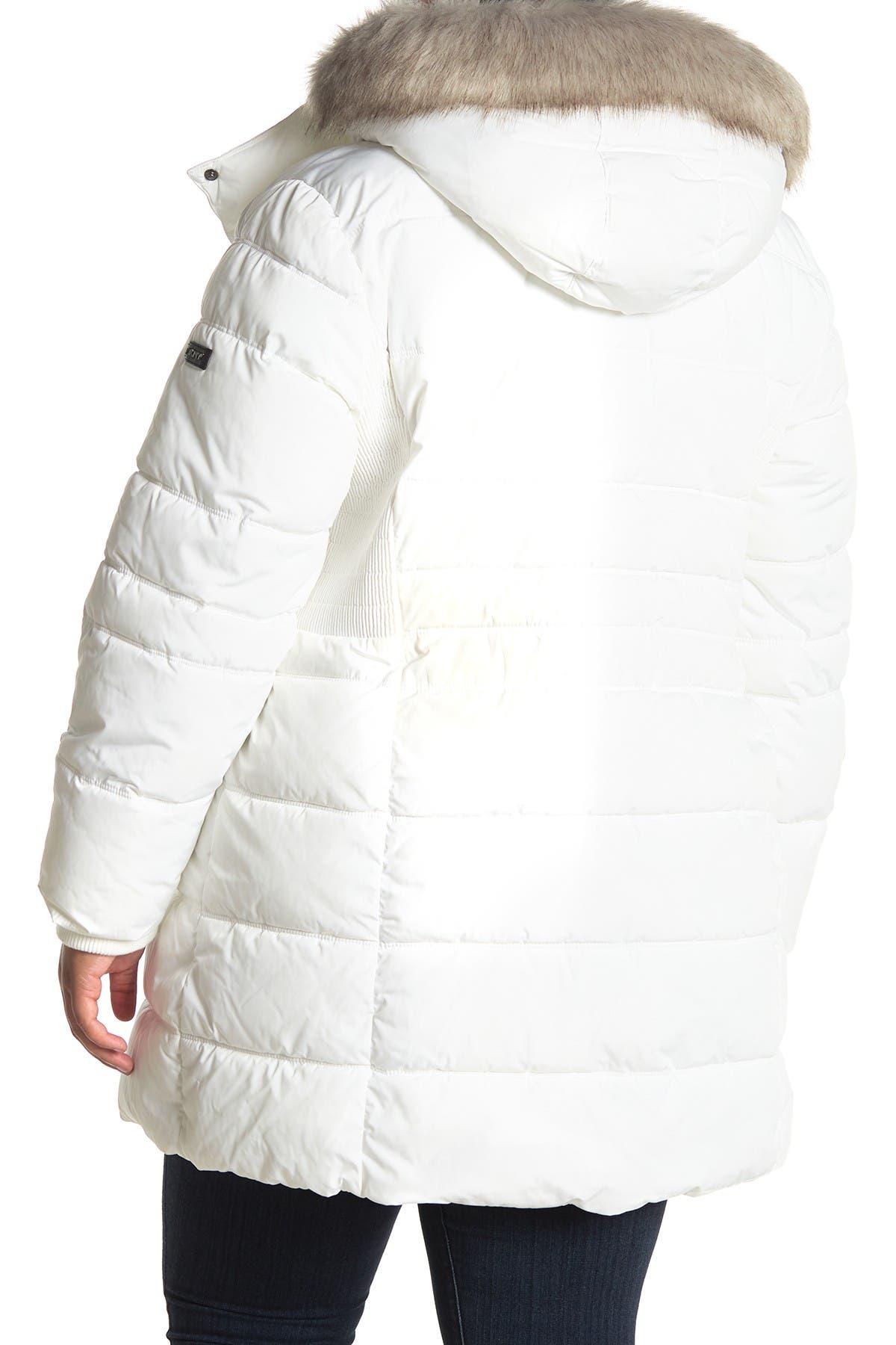 DKNY Faux Fur Trim Hooded Puffer Parka