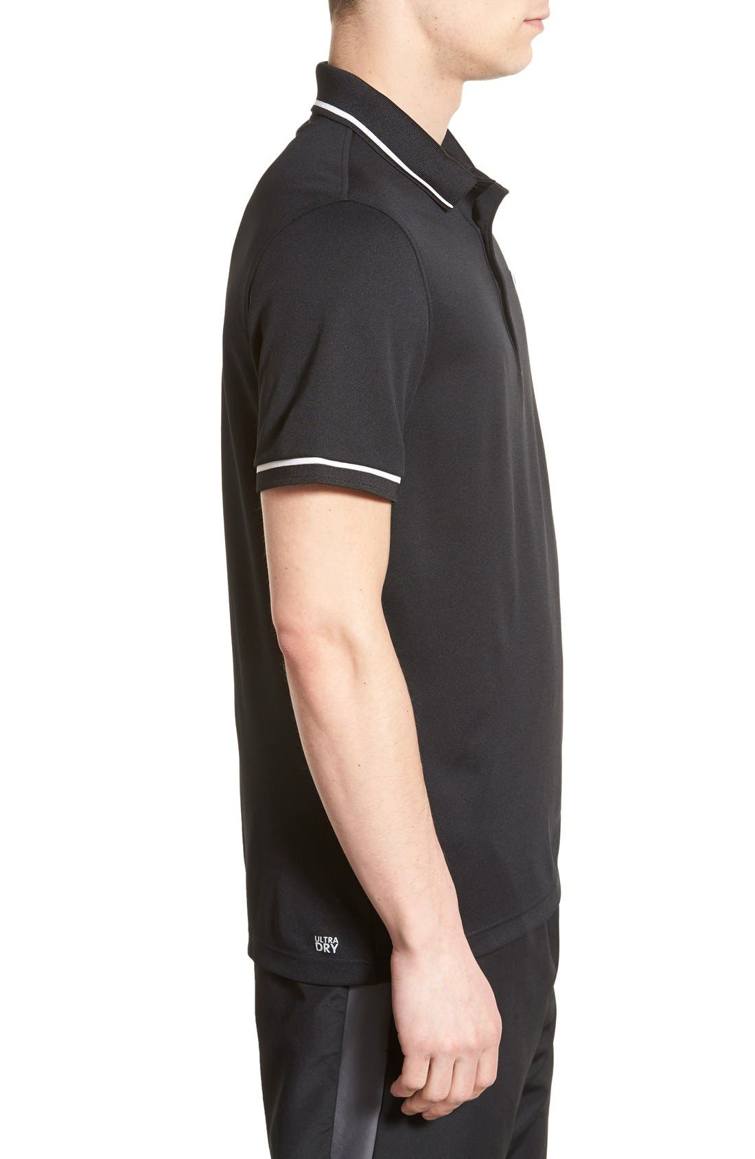 ,                             Regular Fit Tipped Quick Dry Piqué Polo,                             Alternate thumbnail 4, color,                             BLACK/ WHITE