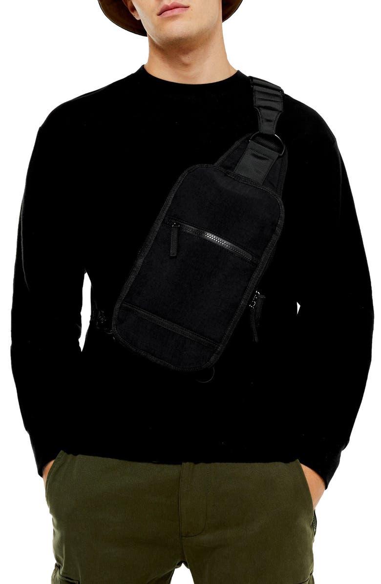 TOPMAN Classic Fit Crewneck Twill Sweatshirt, Main, color, BLACK