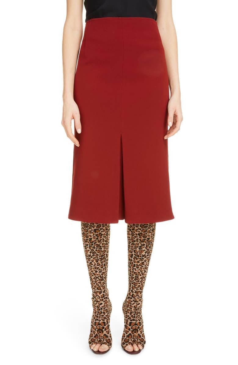 VICTORIA BECKHAM Pleat Detail Crepe Pencil Skirt, Main, color, BORDEAUX